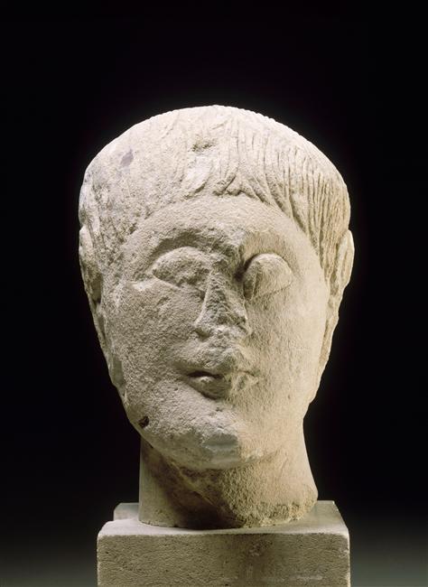 Sculpture ibérique : tête d'homme - 3ème siècle ap. J.-C.