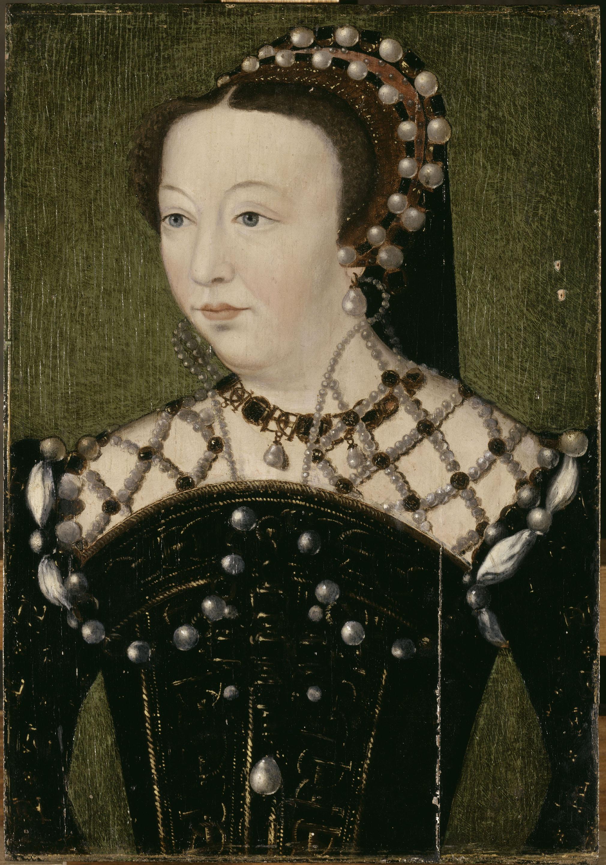 Portrait de Catherine de Médicis / Clouet François (vers 1515-1572) (d'après). Versailles, châteaux de Versailles et de Trianon. MV3179.