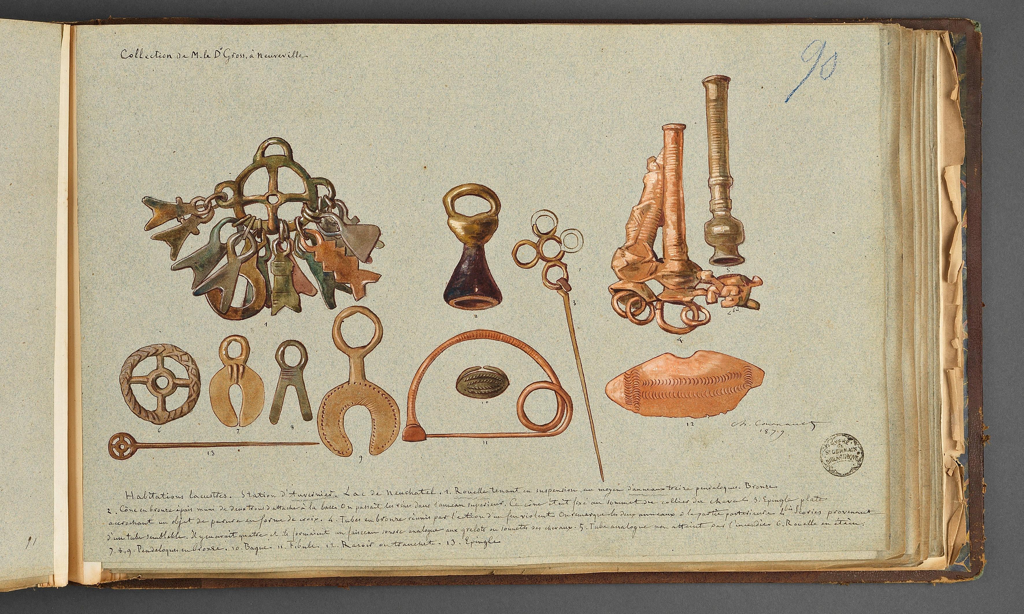 Objets de la collection Victor Gross. Dessin de Charles Cournault. MAN, centre des Archives, album Cournault n°4.