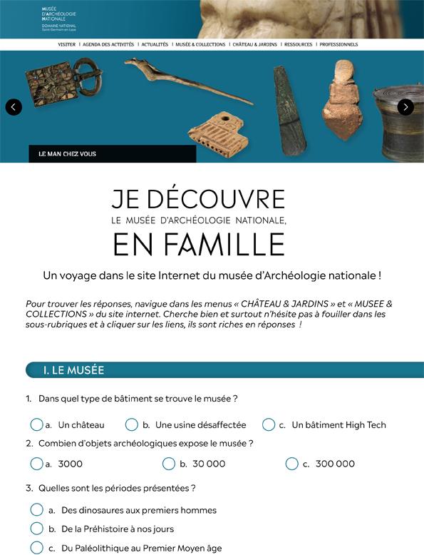 """Questionnaire """"Je découvre le musée d'Archéologie nationale, en famille"""""""