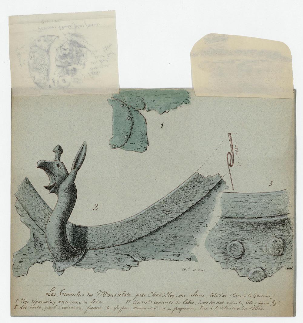 Détail du lébès du Tumulus des Mousselots (Côte-d'Or). Dessin d'Édouard Flouest. MAN, centre des Archives, fonds Flouest.