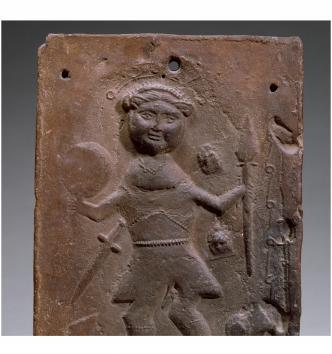 Plaque représentant le Christ triomphant du mal, terre cuite, Grésin, Le Broc (Puy-de-Dôme), Ve-VIe siècle, MAN80287