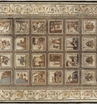 """Pavement de mosaïque représentant un """"calendrier rustique"""""""