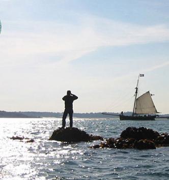 Vues des roches de la Natière par très forte marée, au large de Saint-Malo