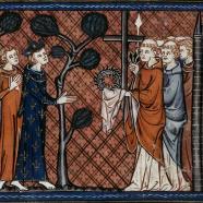 Saint Louis recevant les Saintes Reliques, chroniques de Saint Denis, XIVe siècle