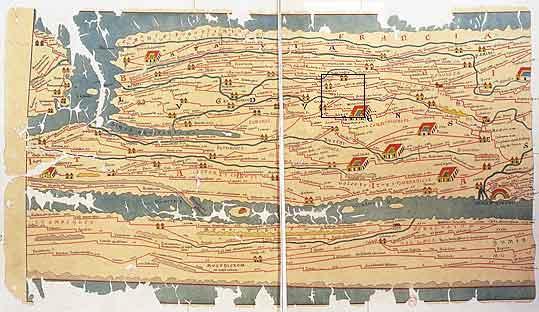 Itinéraire dit « Table de Peutinger » représentant l'Occident romain.