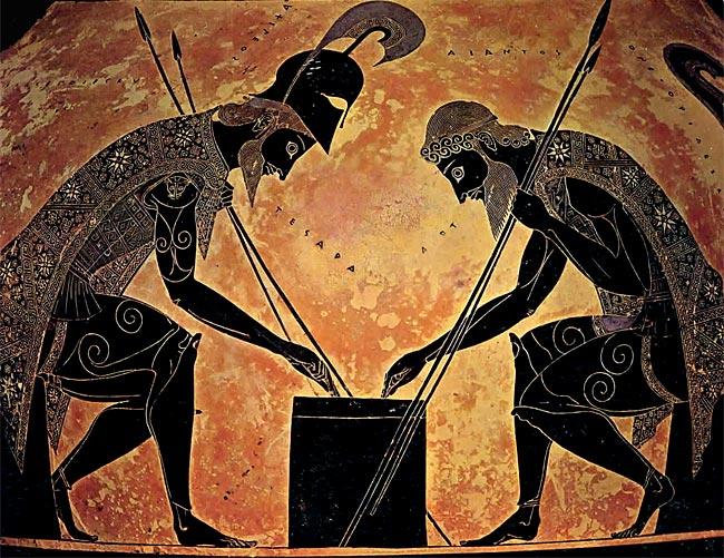 Casques portés au repos, Achille et Ajax jouant aux dés, amphore d'Exékias 540 av. J.-C., Musées du Vatican
